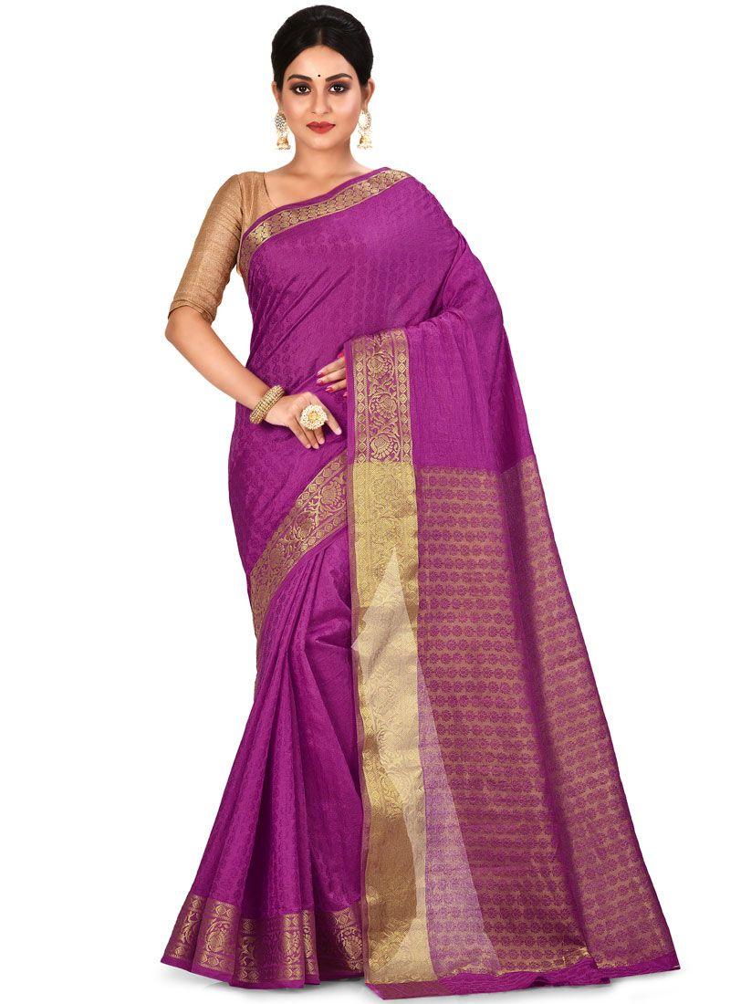 Purple Art Silk Designer Traditional Saree