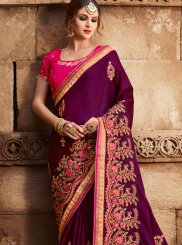 Purple Art Silk Designer Traditional Saree
