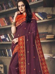 Purple Art Silk Embroidered Designer Saree
