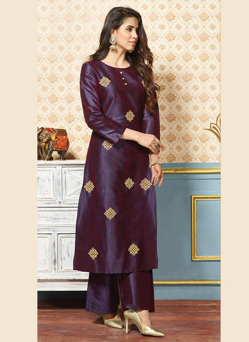 Purple Art Silk Embroidered Party Wear Kurti