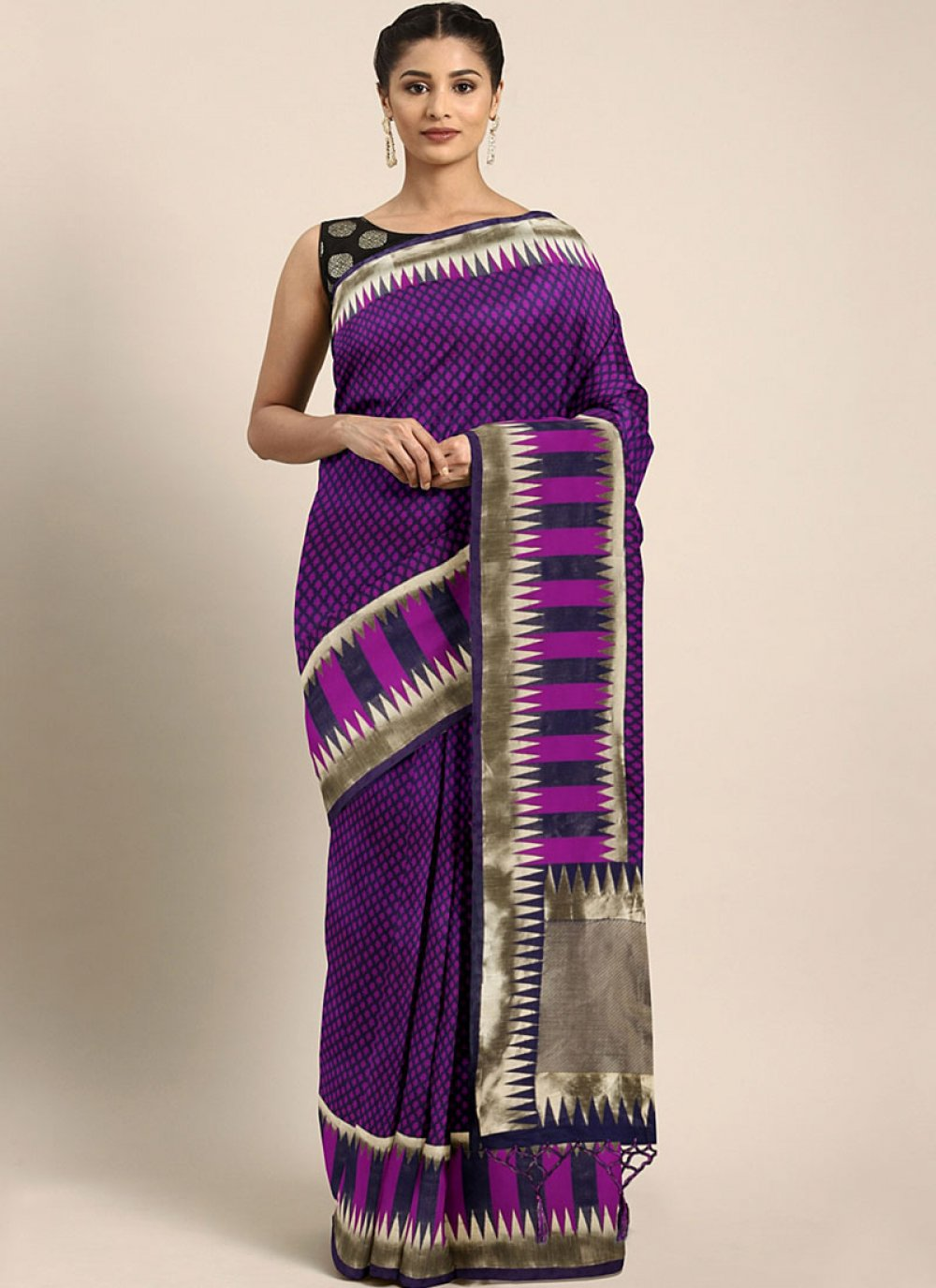 Purple Art Silk Festival Designer Traditional Saree
