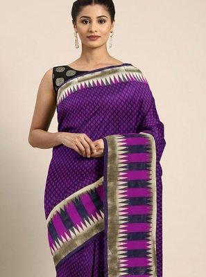 Purple Art Silk Festival Designer Traditional Saree