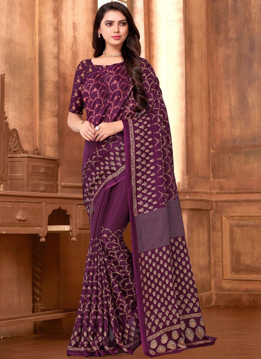 Purple Art Silk Printed Saree