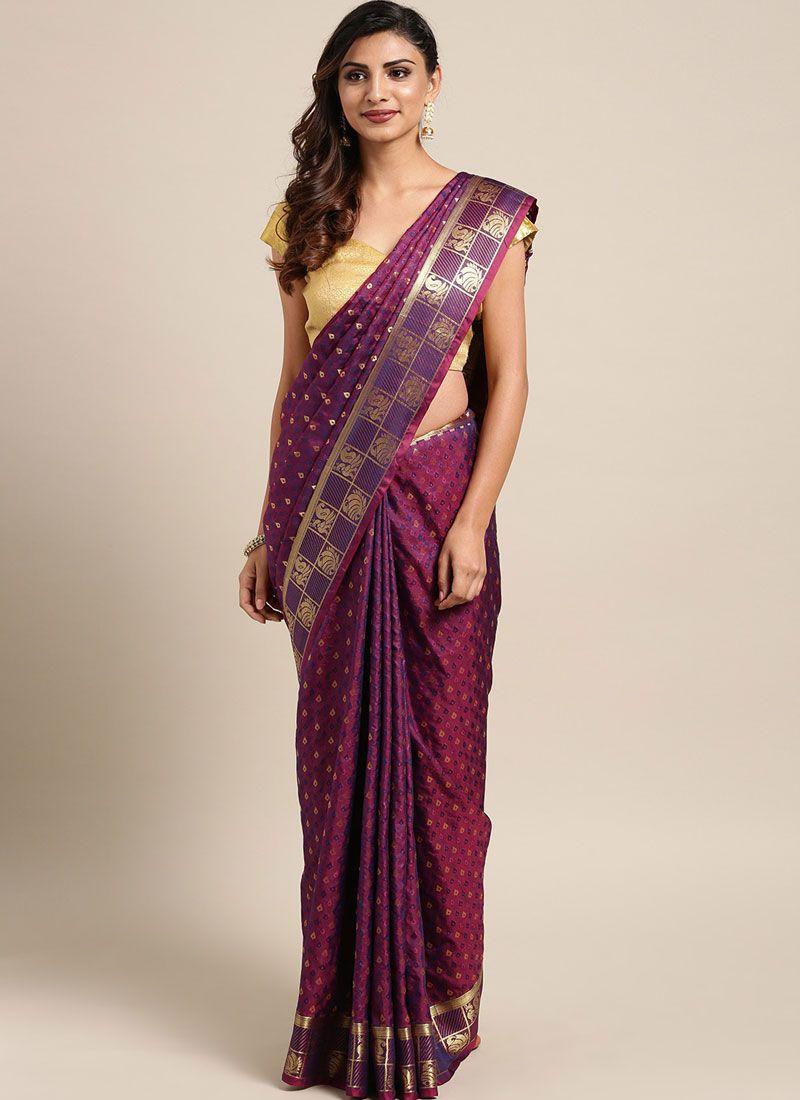 Purple Art Silk Traditional Designer Saree