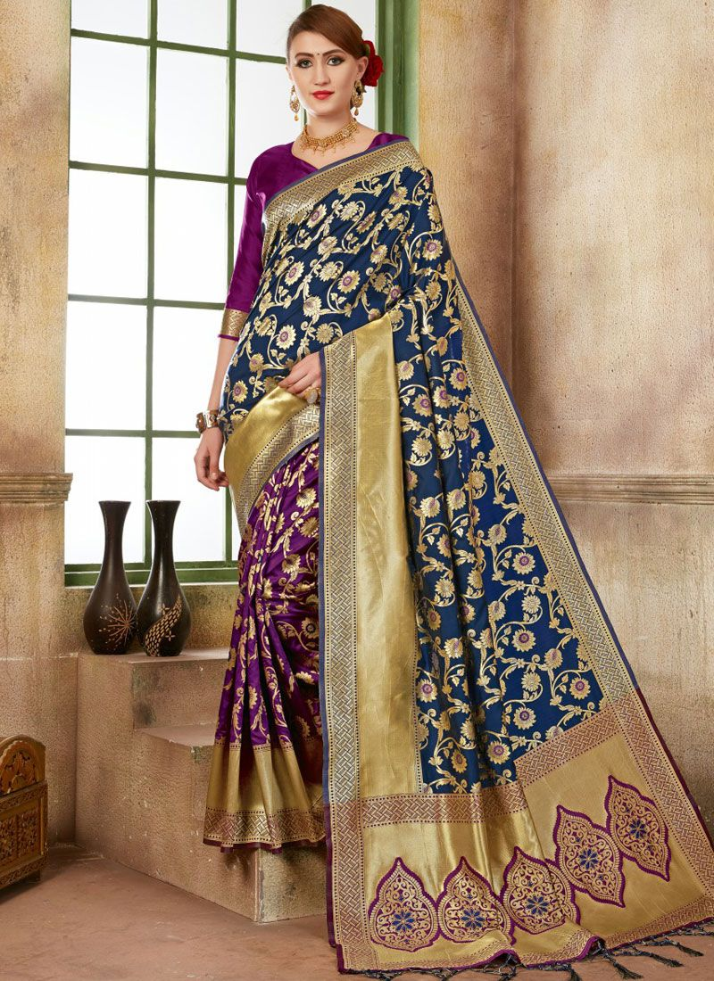 Purple Art Silk Traditional Designer Saree