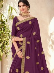 Purple Art Silk Trendy Saree