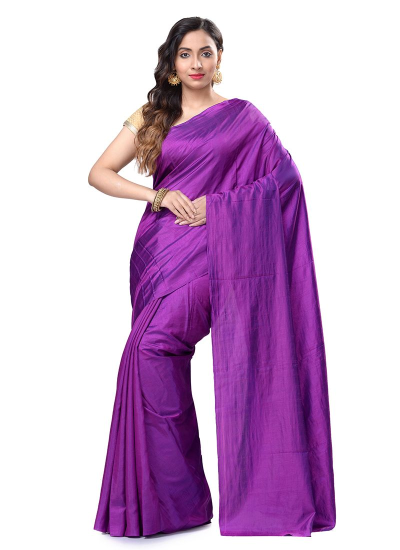 Purple Art Silk Weaving Casual Saree
