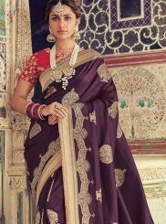 Purple Art Silk Weaving Traditional Saree