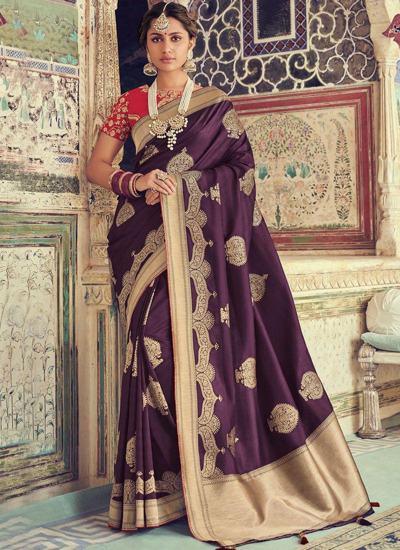 Purple Art Silk Weaving Traditional Saree