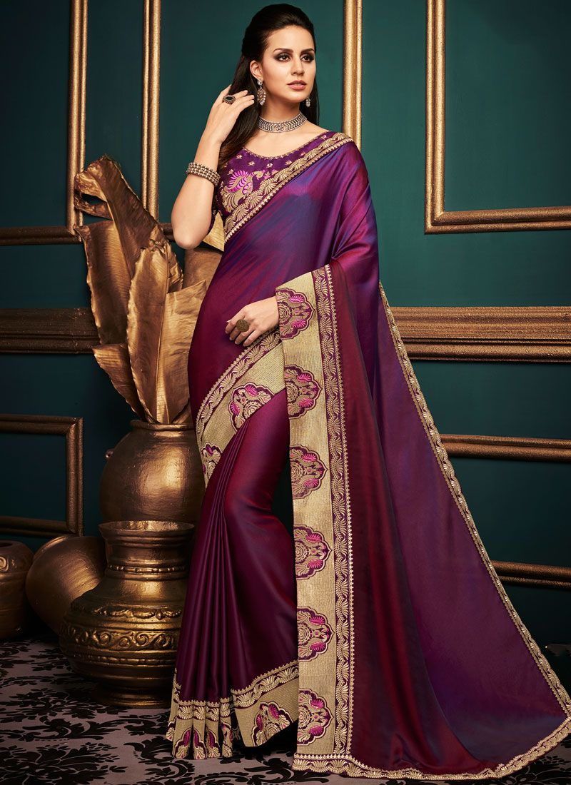 Purple Art Silk Wedding Traditional Saree
