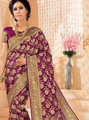 Purple Art Silk Woven Designer Saree