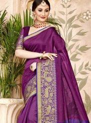 Purple Art Silk Woven Designer Traditional Saree