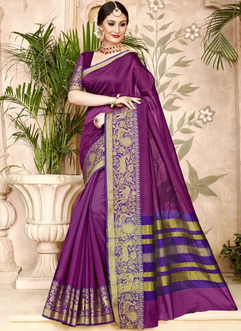 Purple Art Silk Woven Designer Traditional Saree