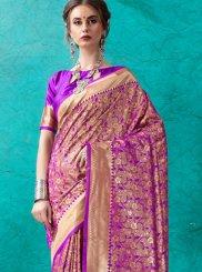 Purple Banarasi Silk Festival Designer Saree
