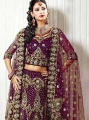Purple Bridal Net Lehenga Choli