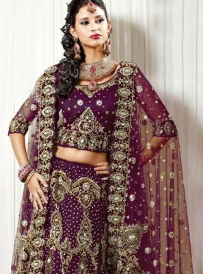 Purple Bridal Net Lehenga Choli
