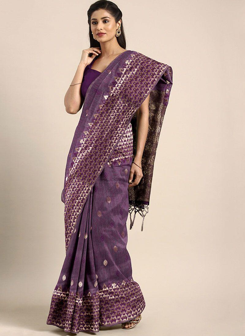 Purple Casual Art Silk Designer Traditional Saree
