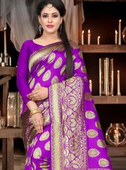 Purple Ceremonial Art Silk Designer Traditional Saree