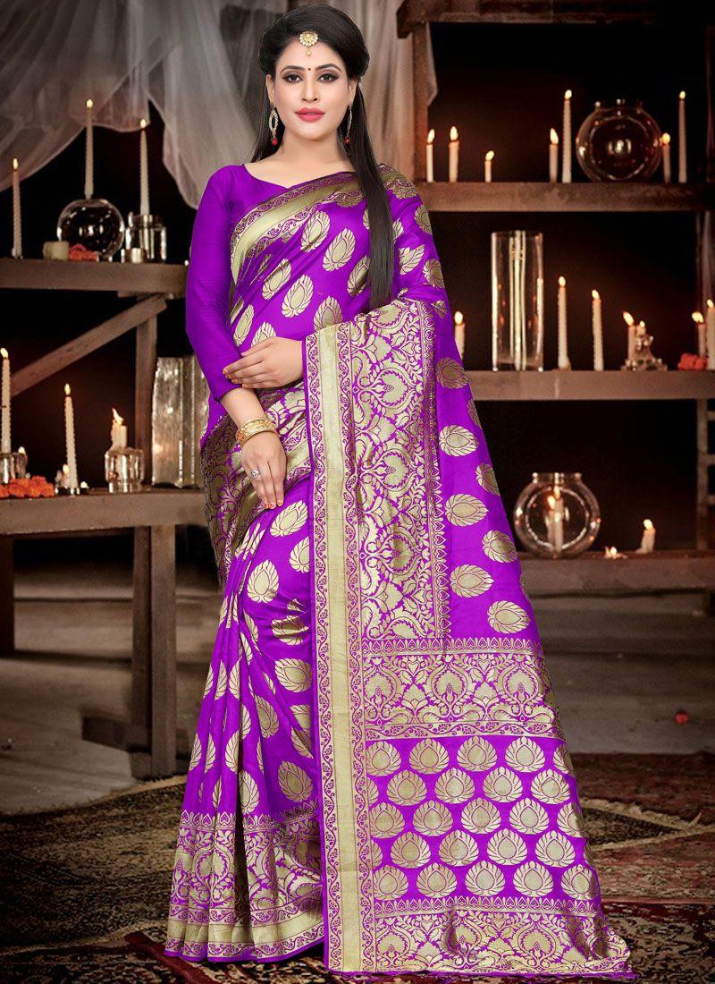 Purple Ceremonial Art Silk Designer Traditional Saree