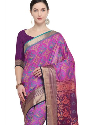 Purple Ceremonial Art Silk Traditional Saree