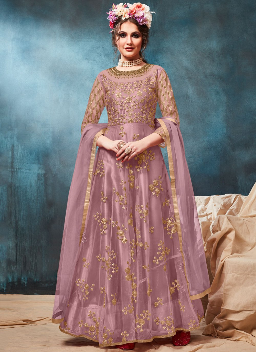 Purple Ceremonial Floor Length Anarkali Suit