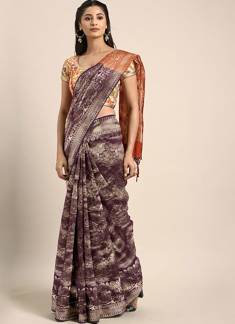 Purple Color Silk Saree