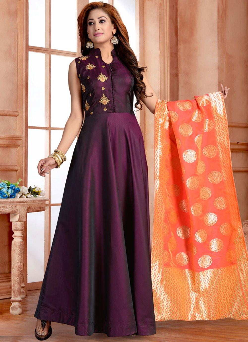 Purple Color Trendy Anarkali Salwar Kameez