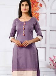 Purple Cotton Casual Kurti