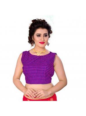 Purple Cotton Designer Blouse