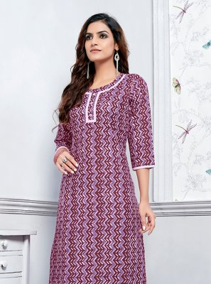 Purple Cotton Festival Party Wear Kurti