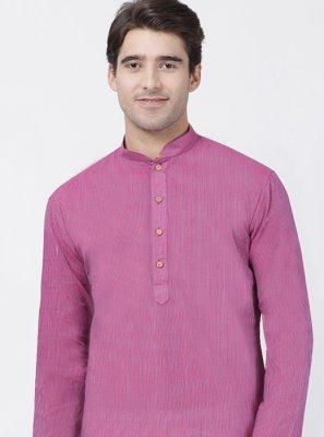 Purple Cotton Plain Kurta