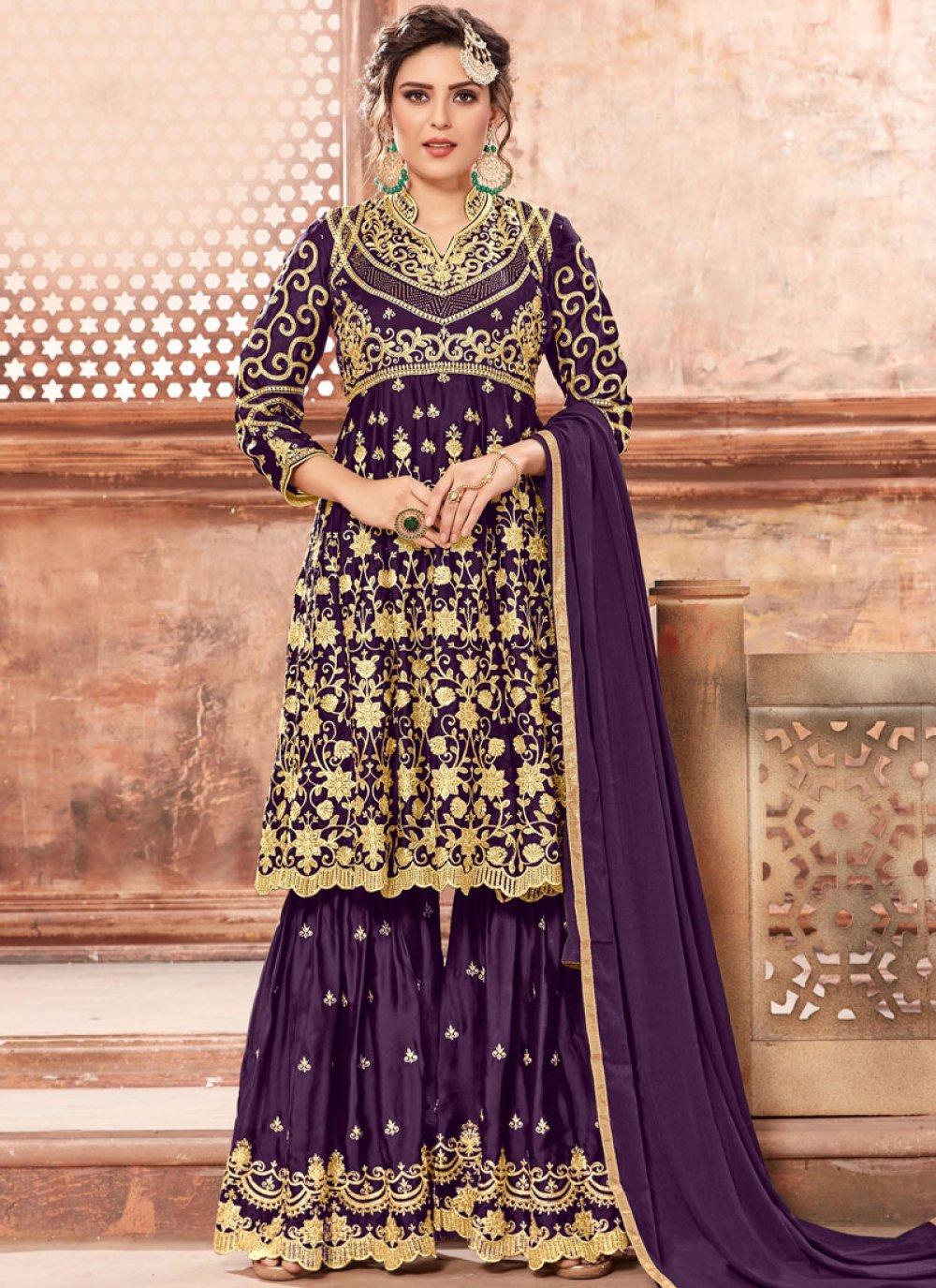 Purple Designer Pakistani Suit