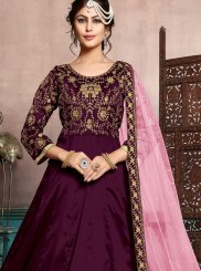 Purple Embroidered Art Silk Floor Length Anarkali Suit