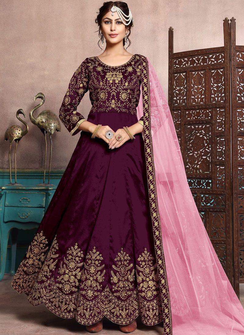 Purple Embroidered Art Silk Floor Length Anarkali Suit