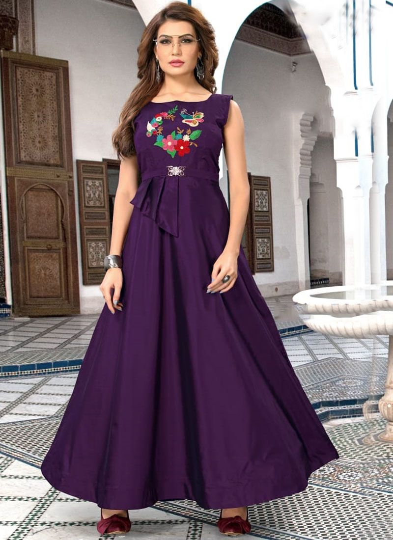Purple Embroidered Art Silk Readymade Gown