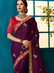 Purple Embroidered Art Silk Traditional Designer Saree