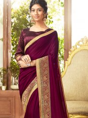 Purple Embroidered Designer Traditional Saree