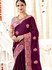 Purple Embroidered Faux Georgette Saree