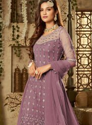 Purple Embroidered Festival Designer Palazzo Suit