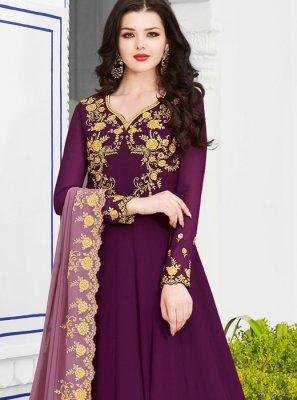 Purple Embroidered Georgette Anarkali Salwar Suit