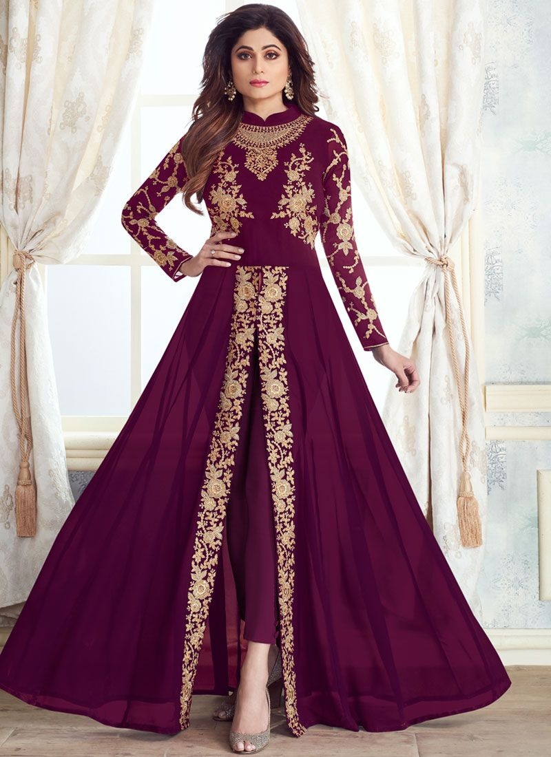 Purple Embroidered Georgette Anarkali Suit