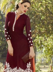 Purple Embroidered Georgette Party Wear Kurti