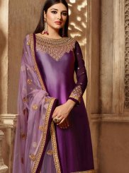 Purple Embroidered Georgette Satin Churidar Salwar Suit