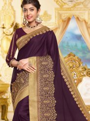 Purple Embroidered Georgette Satin Traditional Saree