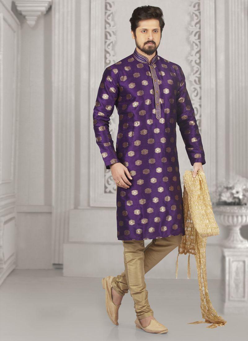 Purple Embroidered Jacquard Silk Kurta Pyjama