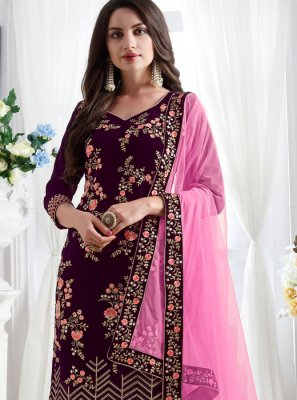 Purple Embroidered Pant Style Suit