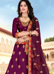 Purple Embroidered Party A Line Lehenga Choli