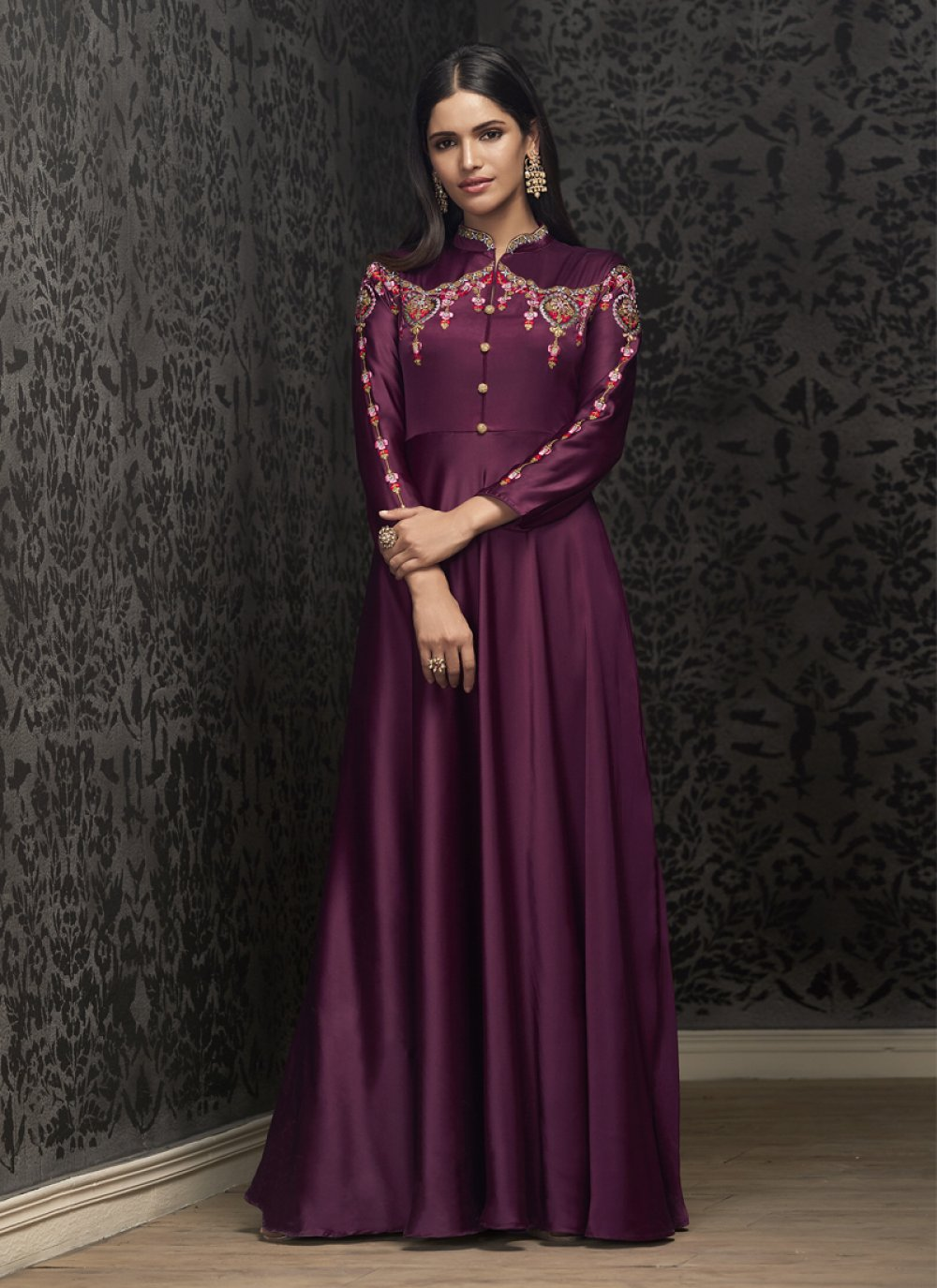 Purple Embroidered Readymade Gown