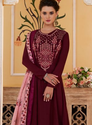 Purple Embroidered Readymade Suit