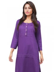 Purple Embroidered Reception Designer Kurti